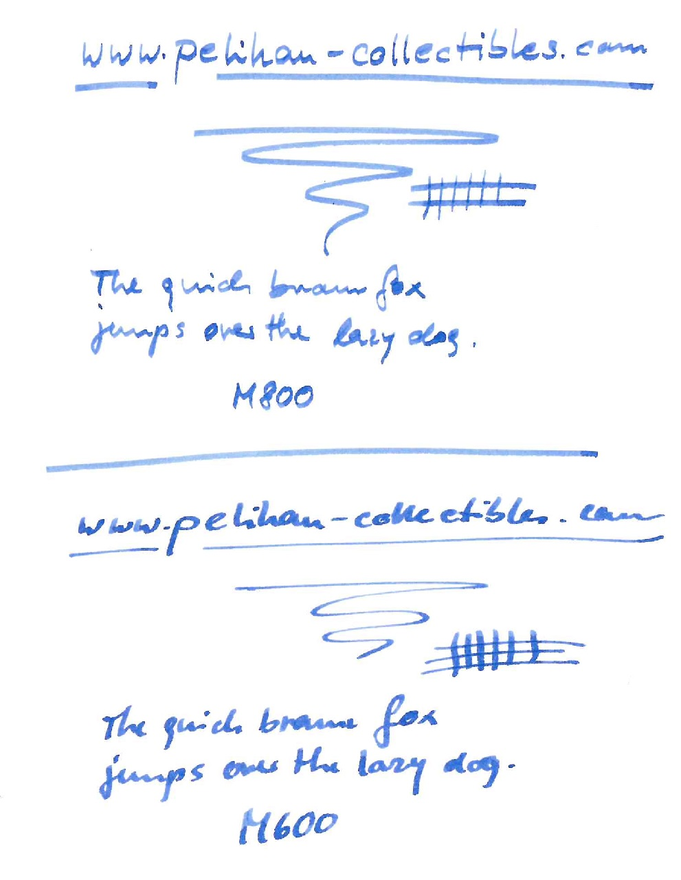 Pelikan M800 and M600 writing sample
