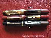 The middle fountain pen is the 100N-Magnum. Above and below shown model 101N and 100N for size comparison.
